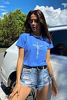 Женская голубая футболка с отворотами на рукавах. Модель 25580, фото 1