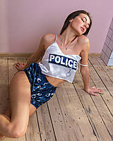 "Шелковая пижама. ""POLICE"". Шелковая пижама женская. Размеры S,M,L. Шелковые пижамы женские. Пижама шелк."
