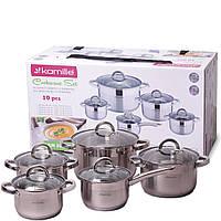 Набір посуду Kamille з нержавіючої сталі 10 предметів для індукції і газу (2.1 л, 2.9 л, 3.9 л, 6.5 л), фото 1