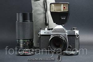 Pentax K1000 kit SMC Pentax-A 50mm f2.0 + CPC CCT MC 75-200mm f4.5 Macro