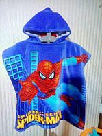 Пляжное детское полотенце-пончо с капюшоном (Человек-паук)