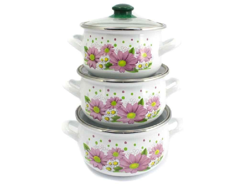 Набор эмалированной посуды Interos Хризантема 3 предмета (2400)