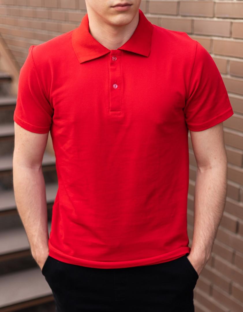 Футболка поло мужская. Яркая мужская классическая тенниска красного цвета.