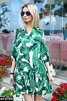 Женское легкое летнее пплатье свободного кроя с банановыми листьями Разные цвета, фото 1