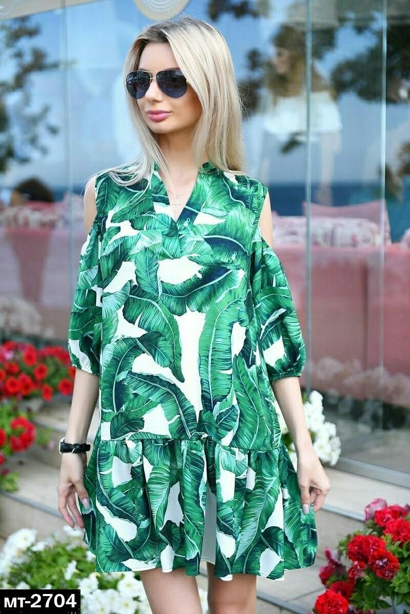 Женское легкое летнее пплатье свободного кроя с банановыми листьями Разные цвета