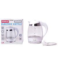 Чайник электрический Kamille 1.8л с синей LED подсветкой и стальными декоративными вставками
