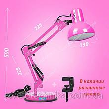 Настольная лампа на струбцине и подставке ярко-розовая  Е27.