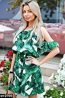 Стильное женское летнее платье сарафан на брительках с банановыми листьями свободного кроя, фото 1