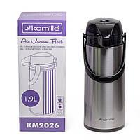 Термос Kamille 1900мл пластиковий зі скляною колбою (чорний/срібло) KM-2026, фото 1