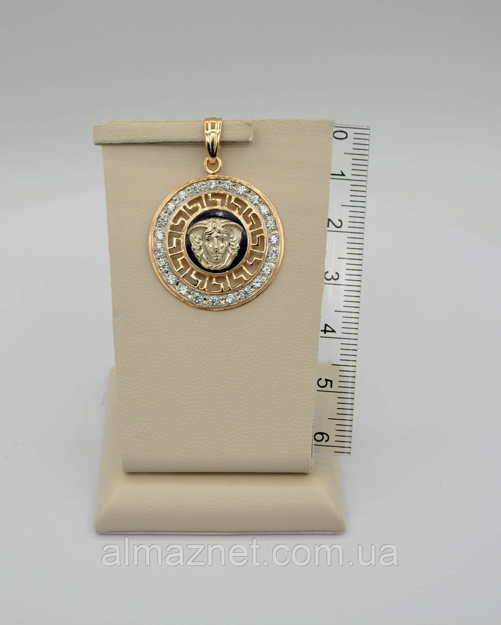 Золотой кулон Версаче 585 пробы с эмалью и цирконием