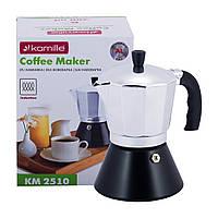 Кофеварка гейзерная Kamille 300мл из алюминия с широким индукционным дном KM-2510