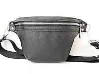 Кожаная сумка нагрудная/поясная сумка мужская/женская ручной работы в черном цвете Tsar.store