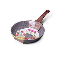 """Сковорода Kamille 28см из литого алюминия с антипригарным покрытием """"гранит"""" и ручкой """"под дерево"""""""