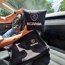 """Автомобильный набор: подушка и плед с логотипом """"Scania"""" цвет на выбор"""