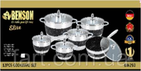 Набор посуды Benson BN-293 12 предметов Черный