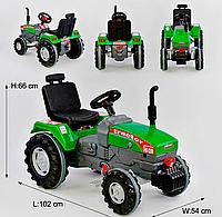 Трактор с педалями для мальчиков, цвет зелёный, прорезиненные колеса, ругулируемое сидение, клаксон на руле.