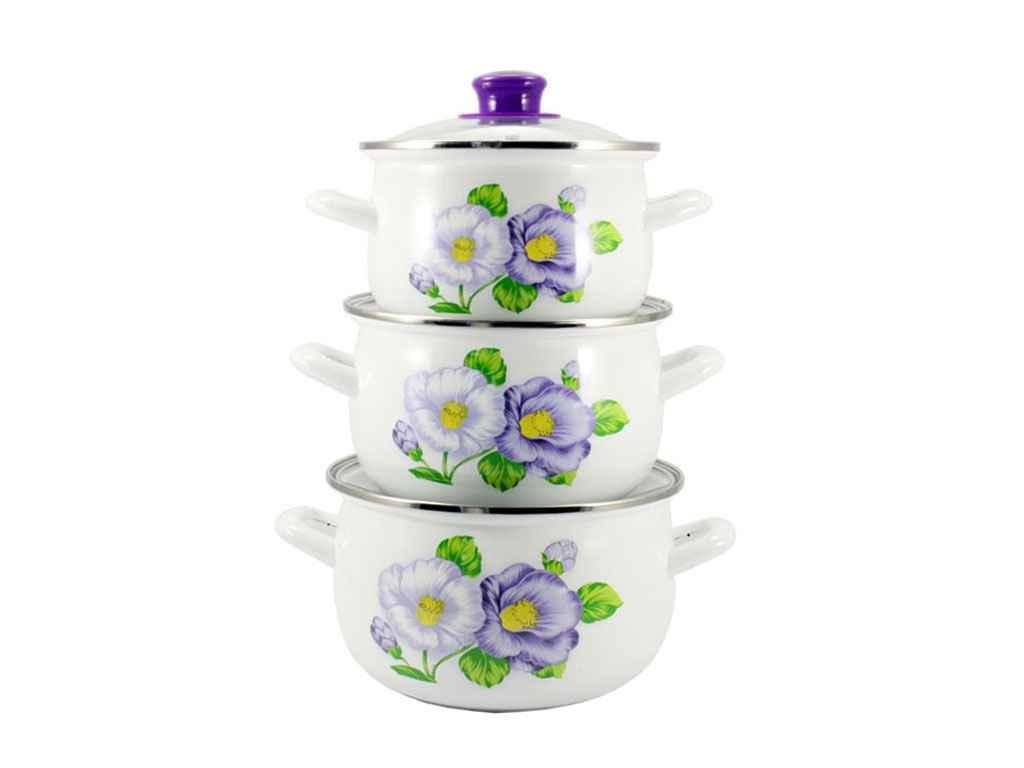 Набор эмалированной посуды Zauberg Мальва фиолет 3 предмета (16/L)