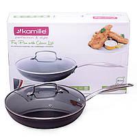 Сковорода Kamille 28см с тефлоновым покрытием и крышкой KM-4288, фото 1