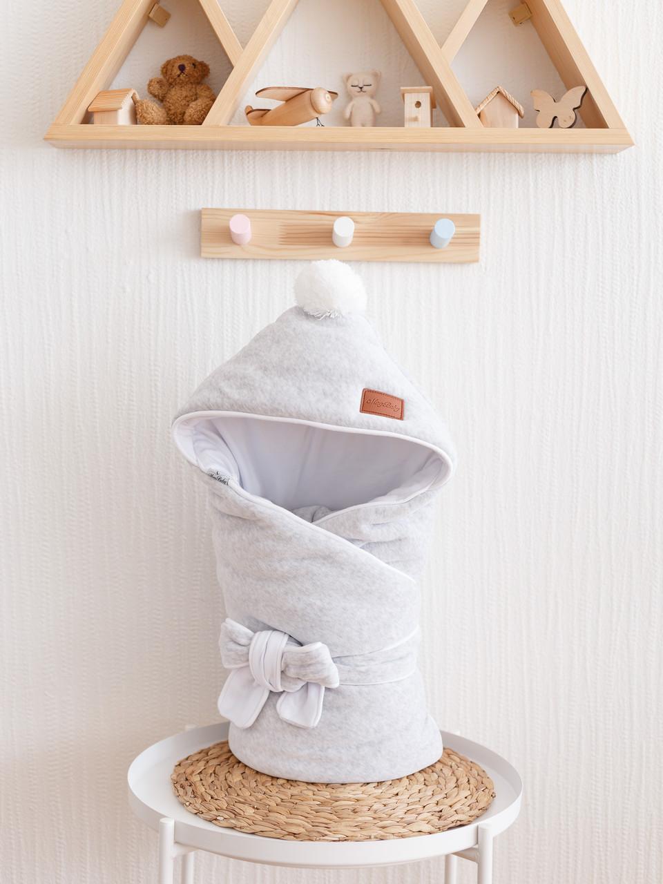 Велюровий конверт-ковдру, на трикотажі, сірий меланж