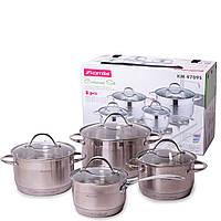 Набір посуду Kamille з нержавіючої сталі 8 предметів (ківш 1.8 л; каструлі 2.3 л, 3.3 л, 5.5 л), фото 1