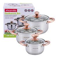 Набор кастрюль Kamille посуда из нержавеющей стали для газа 6 предмета для приготовления пищи для индукции и газа KM-4936, фото 1
