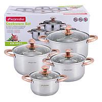 Набор кастрюль Kamille посуда из нержавеющей стали для газа 8 предмета для приготовления пищи для индукции