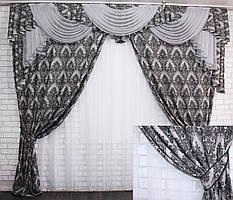 """Ламбрекен с шторами, ручной выкладки из ткани """"Лен"""" Код 129лш339"""
