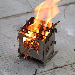 Туристическая титановая щепочница Tiartisan. мини печь (печка) Titanium. Титанова щепочниця.