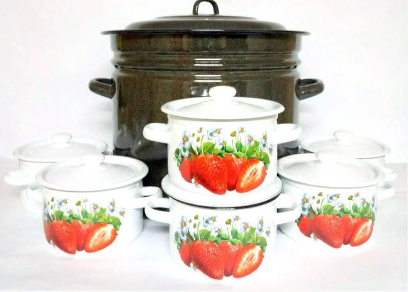 """Набор эмалированной посуды 7 предметов №3003 Клубничный цвет """"Idilia"""""""
