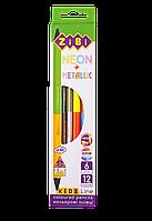 Карандаши цветные двухсторонние ZiBi NEON+METALLIC 6 шт 12 цветов