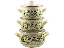 Набор эмалированной посуды Interos Олива 3 предмета (567Т)