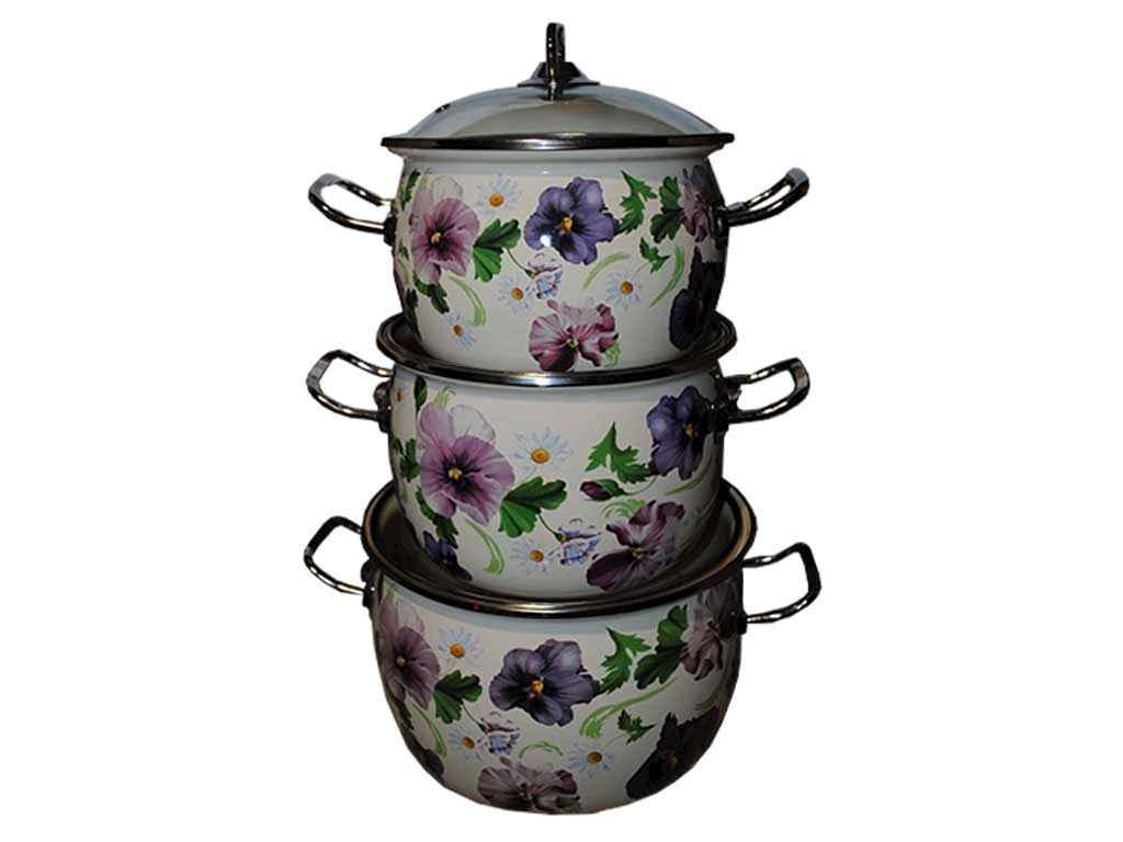 Набор эмалированной посуды 3 предмета №1600 Фиалка Idilia