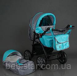 Детская коляска-трансформер серо-бирюзовая с дождевиком Viki 86 Karina деткам от рождения до 3 лет