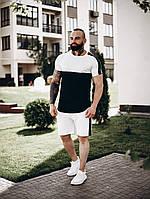 Футболка + шорты комплект набор костюм мужской летний модный стильный двухцветный черно-белый с лампасами Asos