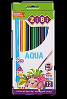 Карандаши цветные акварельные ZiBi AQUA 12 шт