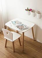 Комплект стол и стул детский от двух до четырех лет белый