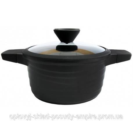Каструля з антипригарним покриттям, з кришкою Black Pro New 55872-28 6,5 л Lessner