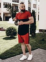 Футболка + шорты комплект набор костюм мужской модный стильный двухцветный черно-бордовый с лампасами Asos