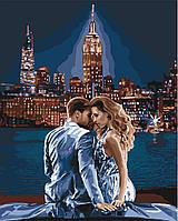 """Акриловая картина по номерам на холсте пара в ночном городе """"Любовь навсегда"""" 40х50, 5 уровень сложности"""