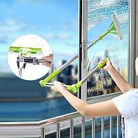 Телескопічна швабра для миття вікон ззовні, Зелена, щітка для миття скла (швабра для миття вікон), фото 1