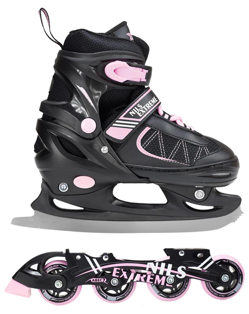 Роликовые коньки Nils Extreme NF7103A 2 в 1 Size 30-33 Black/Pink