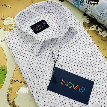 Рубашка детская белая структурная с принтом. INGVAR