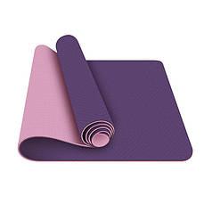 Коврик для фитнеса и йоги TPE двухслойный Meileer tpe-23 Purple + Pink 1830*610*6mm