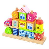 Деревянная пирамидка Viga Toys Городок (50043)