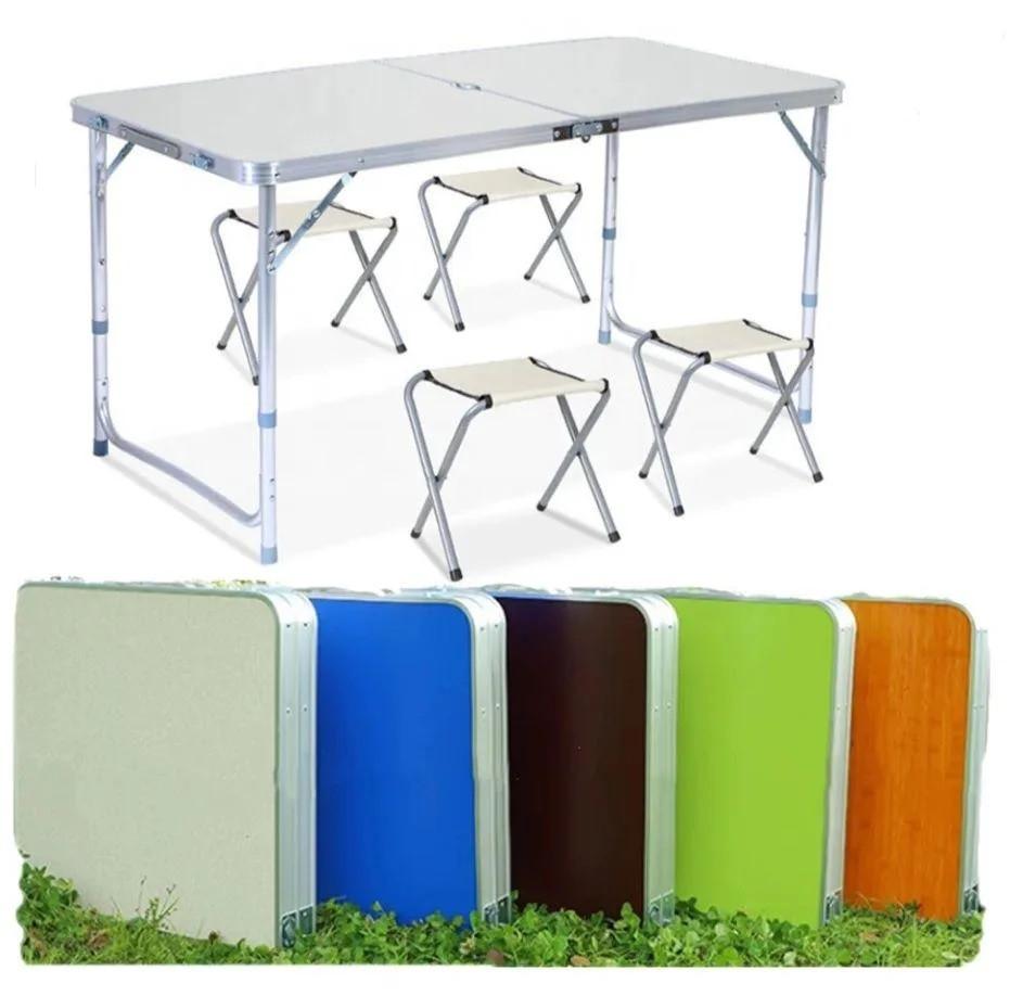 Стіл туристичний складаний валізу зі стільцями для відпочинку на природі (Стіл, 4 стільці різні кольори)