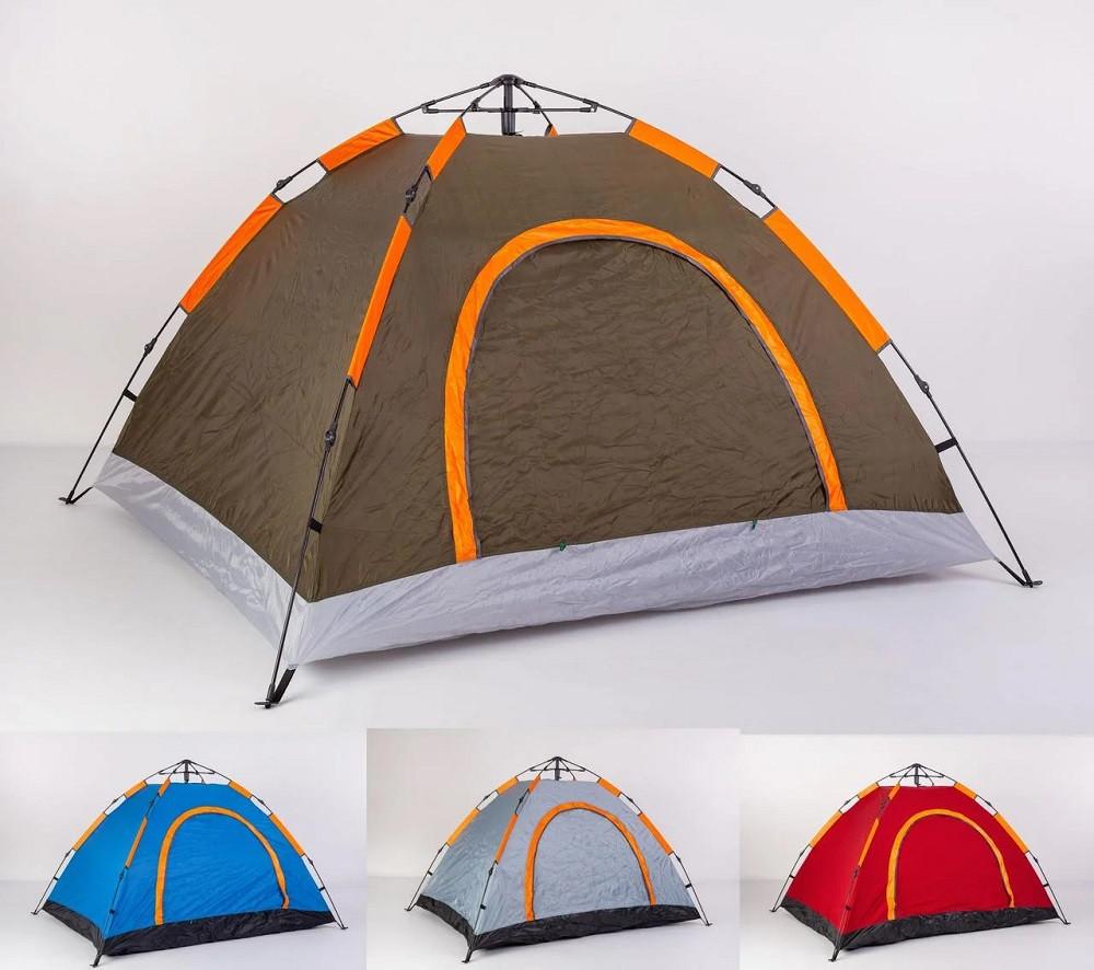 Палатка-автомат туристическая 3-местная водонепроницаемая для пикника рыбалки (разные цвета 1-слойная 1.5мх2м)
