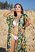 Зеленая пляжная туника в пол из полупрозрачного принтованного шифона, фото 3
