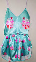 """Шелковая пижама летняя женская бирюзовая с принтом """"Пирожное"""". Размеры S,M,L. Шелковые пижамы женские"""