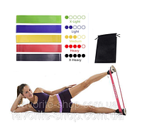 Резинки для фитнеса. Набор 5шт. + чехол, фитнес-резинки, резиновые петли, эспандер-кольцо, эспандер