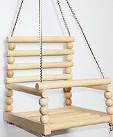 Гойдалка дитяча дерев'яна закрита, качеля підвісна БУК, фото 1